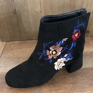 Embroidered Suede Booties